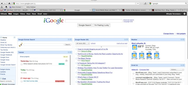 iGoogle screen shot